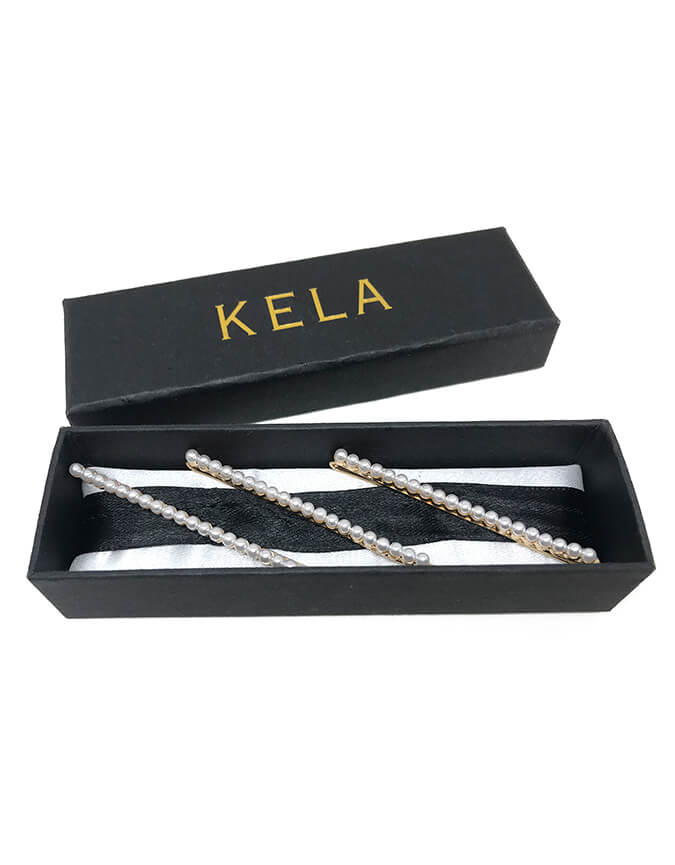 Kela gold and pearl hair pin set of 3